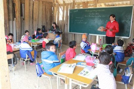 Một phòng học tạm bợ tại điểm trường Nà Cóc, thuộc Trường mầm non số 2, thị trấn Tân Uyên, huyện Tân Uyên, tỉnh Lai Châu