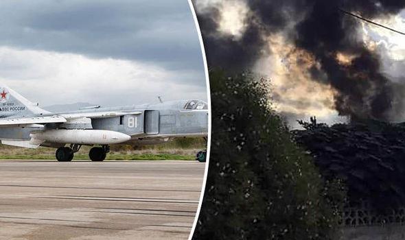 Hiện trường vụ tai nạn của máy bay Su-24 (Ảnh: Getty)