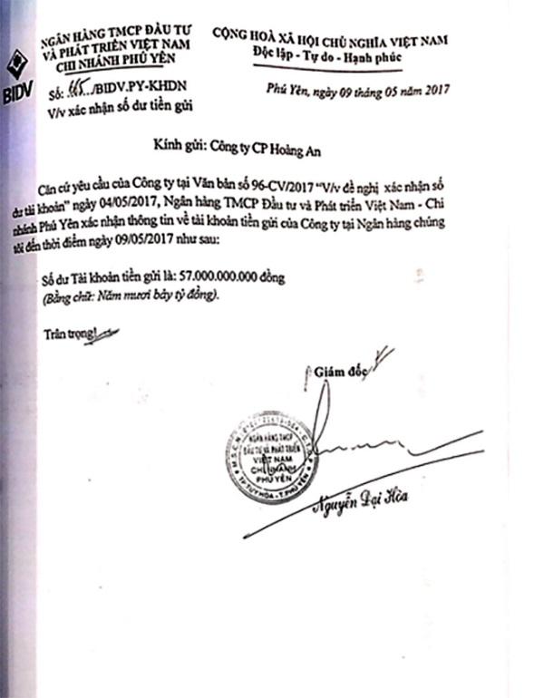 Giấy xác nhận số dư tài khoản của BIDV Phú Yên.