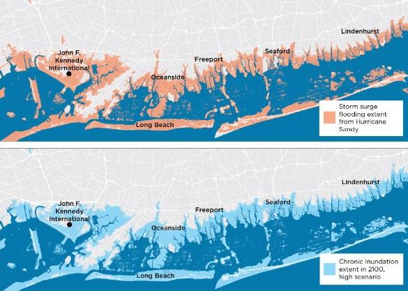 Các khu vực ven biển Mỹ bị ngập lụt do nước biển dâng vì bão Sandy (ảnh trên) và dự báo tình trạng ngập lụt thường xuyên vào năm 2100 (Ảnh: UCS)
