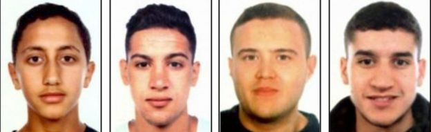 Bốn nghi phạm khủng bố (từ trái sang phải): Moussa Oukabir, Said Aallaa, Mohamed Hychami và Younes Abouyaaqoub. Nghi phạm Younes Abouyaaqoub có thể vẫn đang lẩn trốn, 3 nghi phạm còn lại đã bị tiêu diệt. (Ảnh: AFP)