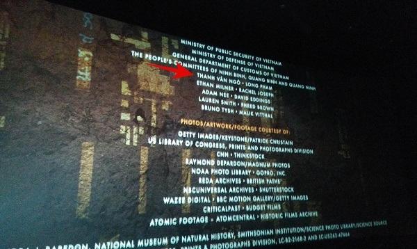 """Tên Thanh Vân Ngô bất ngờ xuất hiện ở phần """"ending credits"""" của phim Kong. Ảnh chụp lại từ màn hình."""