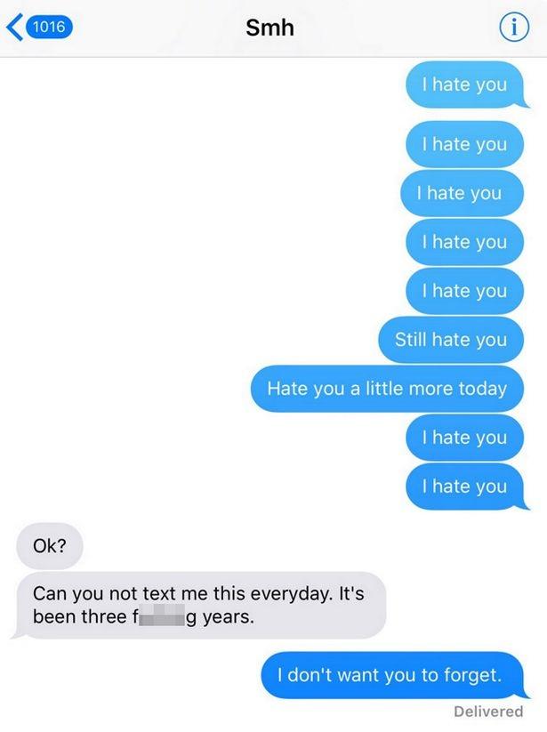 Tôi ghét cô, Tôi ghét cô, Tôi ghét cô.../ Ok, rồi sao?, Anh thôi nhắn cho tôi câu này mỗi ngày đi được không? Đã 3 năm rồi đấy/ Tôi không muốn cô quên điều đó.