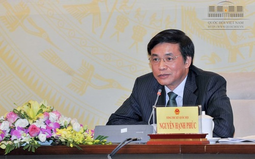 Tổng Thư ký Quốc hội Nguyễn Hạnh Phúc chủ trì cuộc họp báo trước kỳ họp.