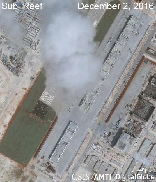 Ảnh vệ tinh ngày 2/12/2016 chụp các nhà chứa máy bay phi pháp của Trung Quốc trên đá Xu Bi thuộc quần đảo Trường Sa của Việt Nam (Ảnh: CSIS)