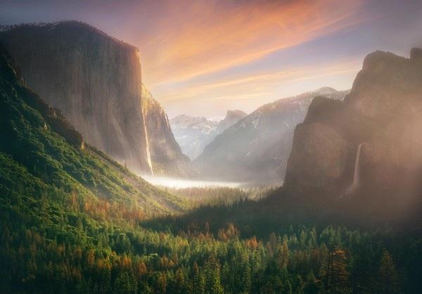 Khung cảnh khu rừng tuyệt đẹp trong vườn quốc gia Yosemite (bang California, Mỹ) sau cơn mưa