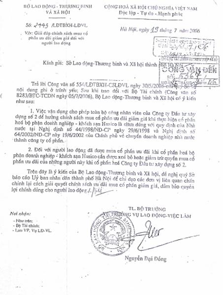 Bộ LĐTB&XH từng đưa ra quan điểm về vụ cổ phần hoá tại HACINCO.