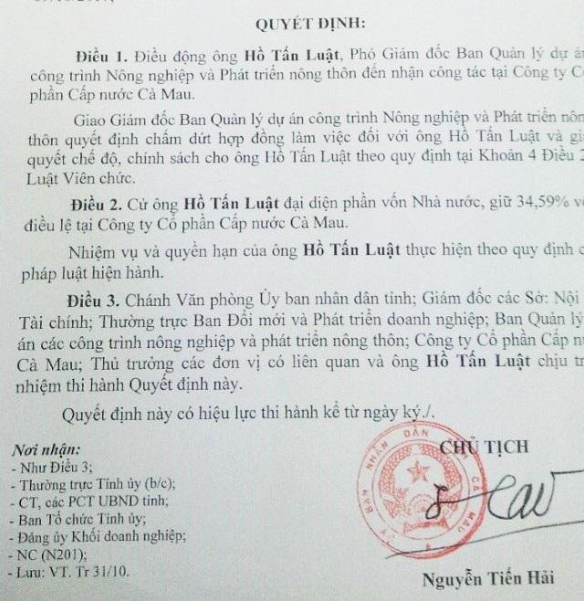 Sau khi miễn nhiệm người đại diện phần vốn Nhà nước đối với ông Lý Hoàng Trung, Chủ tịch tỉnh Cà Mau đã điều động ông Hồ Tấn Luật thay ông Trung.