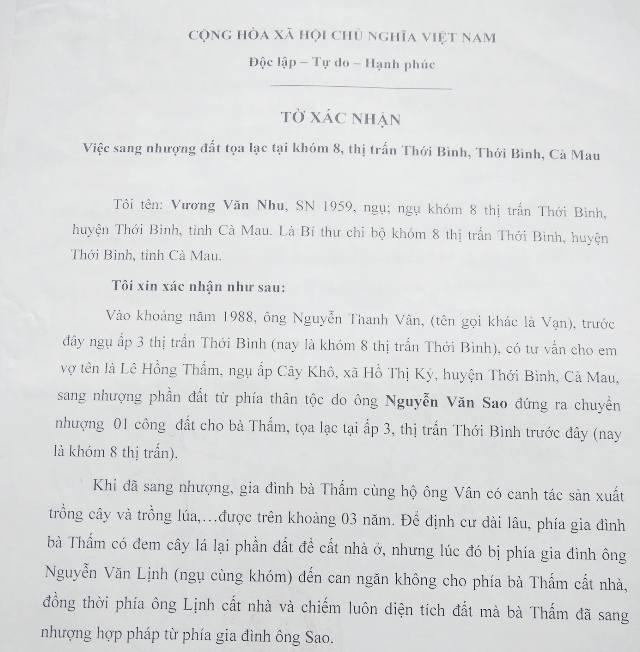 Ông Vương Văn Nhu (Bí thư Chi bộ khóm 8) cũng xác nhận bà Thấm có sang nhượng đất của gia đình ông Sao.