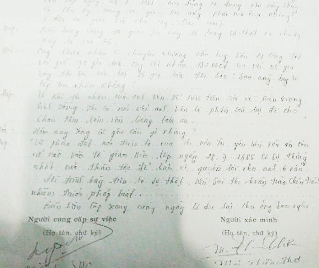 Biên bản xác minh lời của ông Nguyễn Văn Sao về việc bán đất cho phía bà Lê Hồng Thấm. Trong đó có ghi lời ông Sao khẳng định bán đất cho phía bà Thấm vào năm 1988 là có thật.
