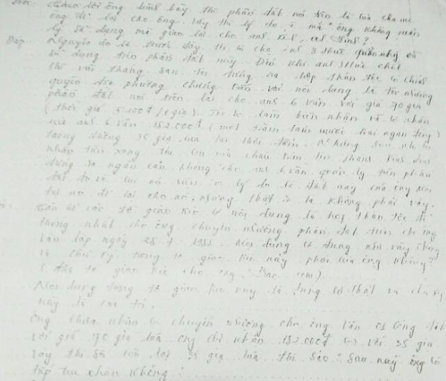 Biên bản xác minh của TAND huyện Thới Bình đối với ông Nguyễn Văn Sao vào năm 2002. Trong biên bản này, có ghi rõ lời ông Sao khẳng định đã có bán phần đất cho phía bà Lê Hồng Thấm. Phần đất này là của tôi nên tôi yêu cầu tòa án căn cứ vào tờ giao kèo lập ngày 28/7/1988 có sự thống nhất của thân tộc để bảo vệ quyền lợi cho anh 6 Vân.