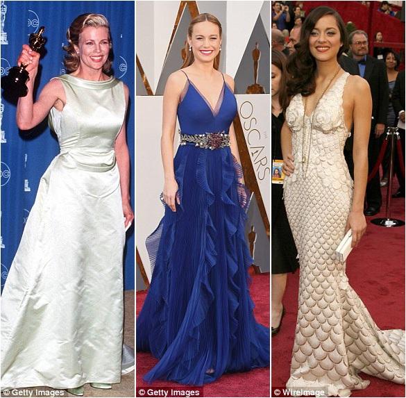 Geena Davis (trái) mặc đầm tự thiết kế năm 1989; Brie Larson (giữa) mặc đầm Gucci năm 2016; Marion Cotillard (phải) mặc đầm Jean Paul Gaultier năm 2008.