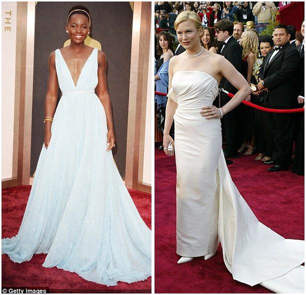 Những bộ đầm được diện bởi những người chiến thắng thường có phần đuôi kéo dài tạo sự sang trọng, thướt tha. Ảnh phải: Renee Zellweger năm 2004; ảnh trái: Lupita Nyongo năm 2014.