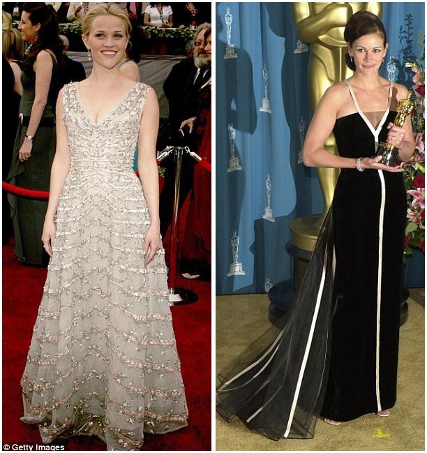 Những bộ đầm thường có màu đen; chất liệu vải là loại có độ trong mờ, không phải vải trong suốt xuyên thấu; đồng thời, phải lấp lánh phản sáng. Ảnh phải: Julia Roberts năm 2001; ảnh trái: Reese Witherspoon năm 2006.