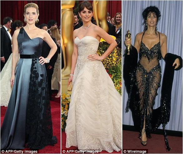 Những bộ đầm không tay sẽ giúp các người đẹp khoe ra bờ vai gợi cảm mà vẫn sang trọng, quý phái, tiết chế vừa đủ. Từ trái sang phải: Kate Winslet và Penelope Cruz năm 2009; Cher năm 1988.
