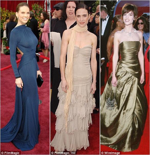 Hilary Swank (trái) hồi năm 2005 lựa chọn đầm có tay; Jennifer Connelly (giữa) quàng khăn lên thảm đỏ hồi năm 2002. Cả hai lựa chọn này đều khiến họ bớt tỏa sáng. Trong khi đó, hồi năm 2000, Hilary Swank đã từng tỏa sáng với bộ đầm lấp lánh phản sáng.