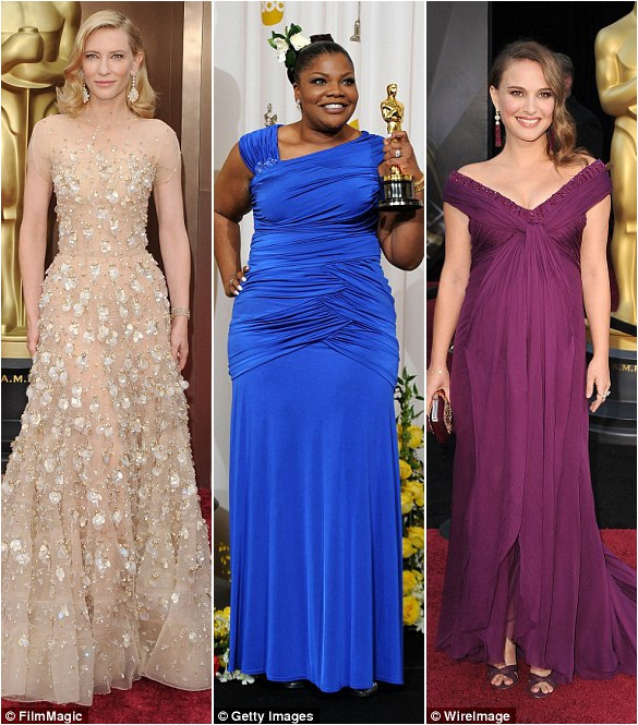 Những sự biến tấu đa dạng: Cate Blanchett (trái) lựa chọn váy A dài hồi năm 2014 thay vì váy ôm dáng; Mo'Nique (giữa) lựa chọn màu xanh thay vì màu đen truyền thống hồi năm 2010; Natalie Portman chọn màu tím hồi năm 2010.