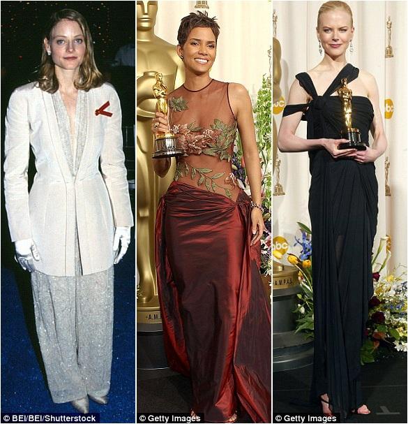 Độc đáo riêng có: Jodie Foster (trái) nằm trong số 3% nữ diễn viên thắng giải Oscar từng diện vest lên nhận tượng vàng; Halle Berry (giữa) và Nicole Kidman (phải) lựa chọn những thiết kế có dáng cổ khá lạ.