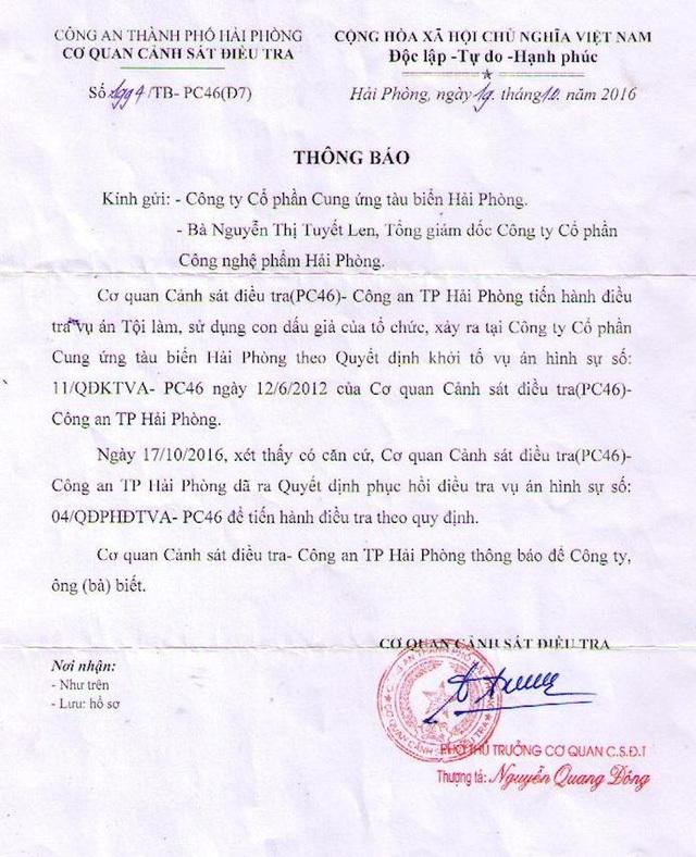 Trước đó, Công an TP Hải Phòng quyết định phục hồi điều tra vụ án Làm, sử dụng con dấu giả của tổ chức ngay sau Công văn của Văn phòng Chính phủ.