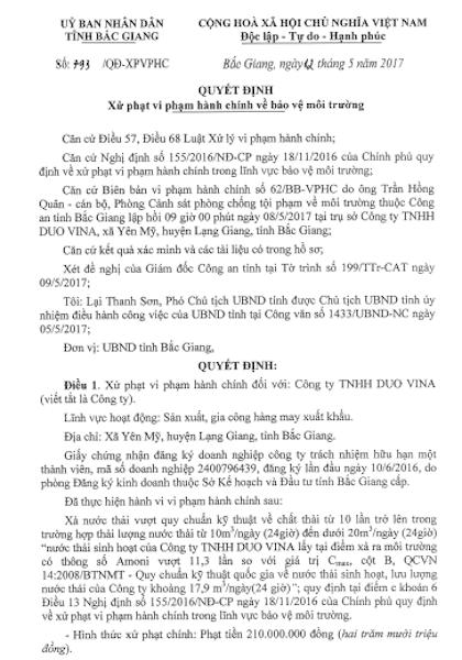 """Bắc Giang: Thêm một công ty may """"bức tử"""" môi trường nhận án phạt - 1"""