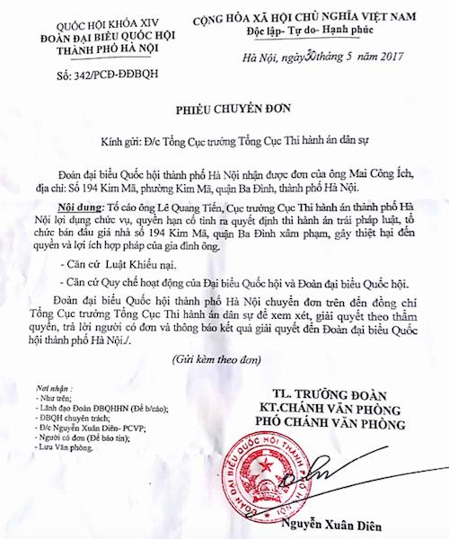 Đoàn ĐBQH TP Hà Nội đề nghị làm rõ tố cáo Cục trưởng Cục thi hành án TP Hà Nội.
