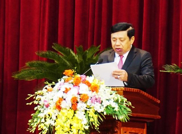 Chủ tịch UBND tỉnh Nghệ An Nguyễn Xuân Đường đọc diễn văn kỷ niệm 150 năm ngày sinh chí sĩ yêu nước Phan Bội Châu