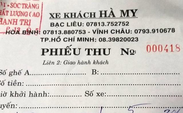 Vé xe chỉ là phiếu thu của xe khách Hà My. Điều đáng nói trên phiếu này không có nhiều thông tin cụ thể.