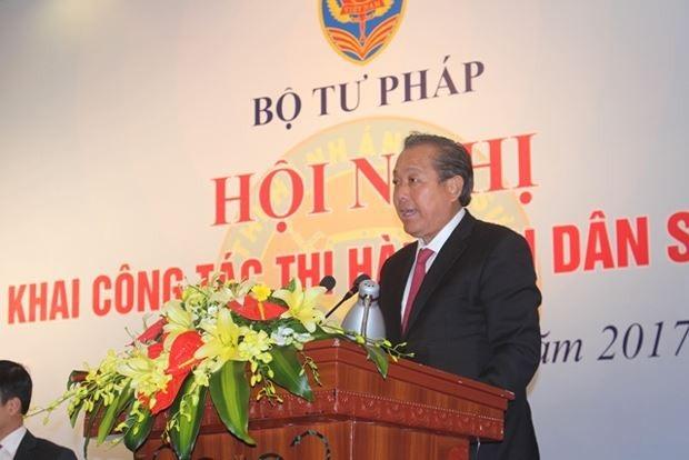 Phó Thủ tướng Thường trực Trương Hoà Bình chỉ đạo tại hội nghị triển khai công tác thi hành án dân sự năm 2018.
