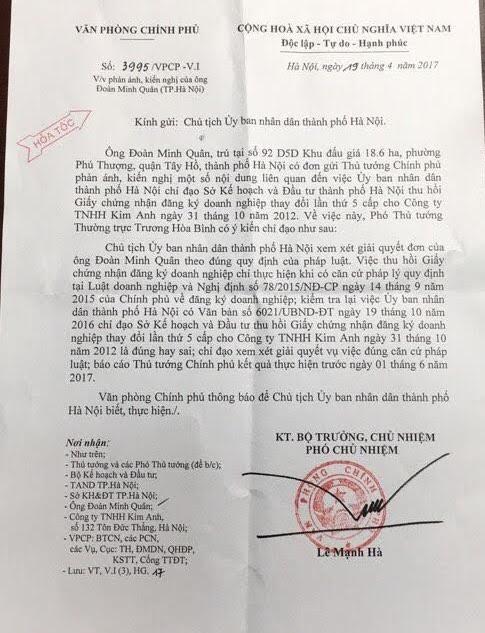 Hà Nội phải báo cáo sự việc lên Thủ tướng Chính phủ trước ngày 1/6/2017.