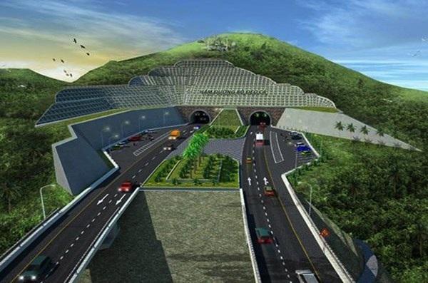 Phối cảnh dự án hầm đường bộ đèo Cả, trong đó có hầm Cổ Mã