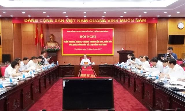 Đoàn công tác số 2, Ban Chỉ đạo Trung ương về phòng, chống tham nhũng tổ chức Hội nghị triển khai kế hoạch kiểm tra, giám sát tại Tỉnh ủy Thái Bình