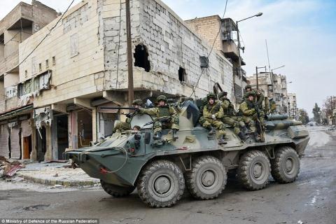 Lực lượng quân đội Nga tại thành phố Aleppo.