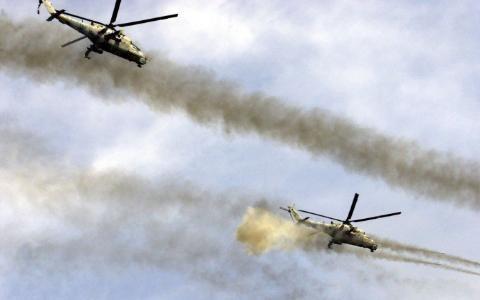 Máy bay trực thăng Nga hỗ trợ hỏa lực cho Quân đội Syria