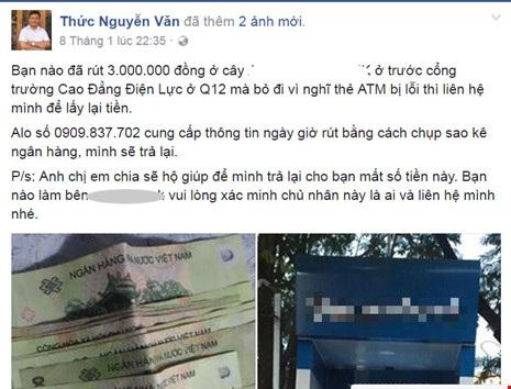 Anh Thức chia sẻ thông tin trên facebook hi vọng chủ nhân số tiền biết và liên hệ nhận lại.