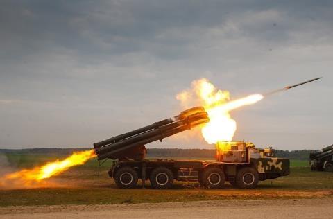 Pháo phản lực Smerch của Nga.