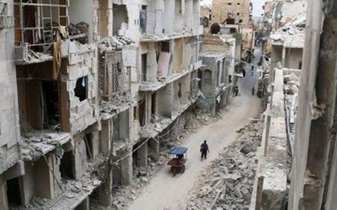 Một khu phố ở Aleppo, Syria tan hoang vì xung đột dai dẳng ở đất nước này. (Ảnh: Reuters)