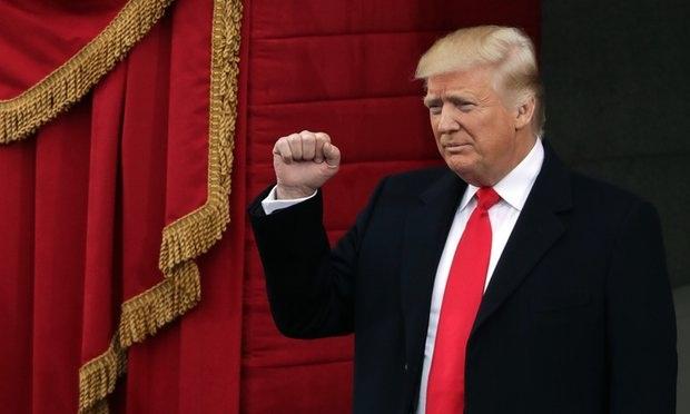 Tổng thống Mỹ Donald Trump lại lễ nhậm chức hôm 20/1. Ảnh: Reuters