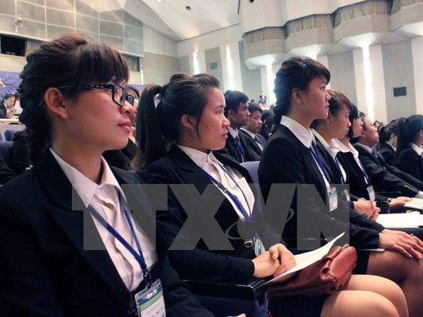 151 ứng viên y tá và điều dưỡng viên Việt Nam tham dự Lễ khai giảng Chương trình đào tạo tiếng Nhật. (Nguồn: TTXVN)