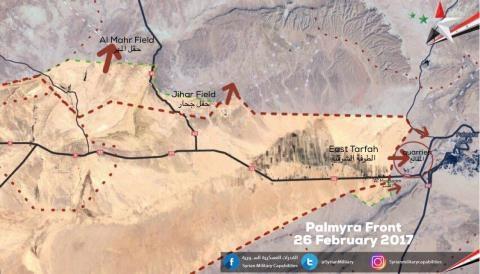 Các mũi tiến công của quân đội Syria trong ngày 26/2 trên chiến trường Palmyra