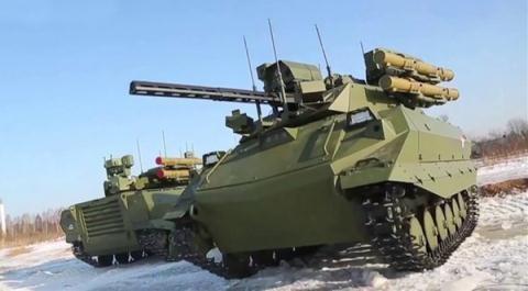 Robot chiến đấu Uran-9 của quân đội Nga. (Ảnh: livejouma.com)