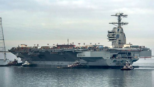 Tàu sân bay USS Gerald R.Ford trị giá 13 tỷ USD của Mỹ. Ảnh: Huntington Ingalls Industries