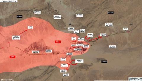 Những địa bàn then chốt mà quân đội Syria giành được trong ngày 13/3 trên chiến trường Palmyra