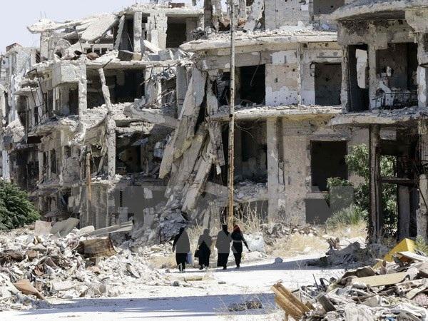 Cảnh đổ nát do chiến sự ở thành phố Homs, miền trung Syria ngày 19/9/2016. (Nguồn: AFP/TTXVN)