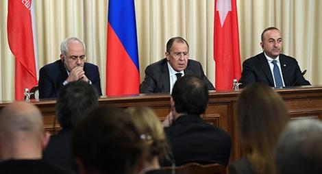 Ngoại trưởng Nga, Iran và Thổ Nhĩ Kỳ họp báo sau hội đàm về Syria.