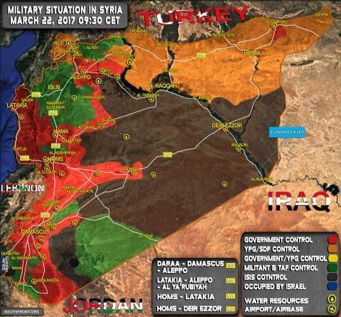 Bản đồ Syria ngày 22/3