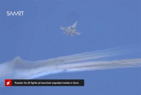 Tiêm kích Su-35 phóng rocket tại Hama.
