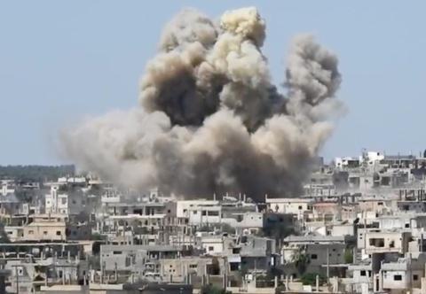 Máy bay Nga và Syria tiến hành một vụ không kích vào Daraa.