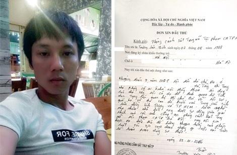 Sau khi được cán bộ PC52 Hà Nội vận động, Biên đã tự nguyện viết đơn xin đầu thú.