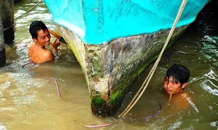 Các cháu ông Năm Thợ Lặn vệ sinh tàu cá cho ngư dân.