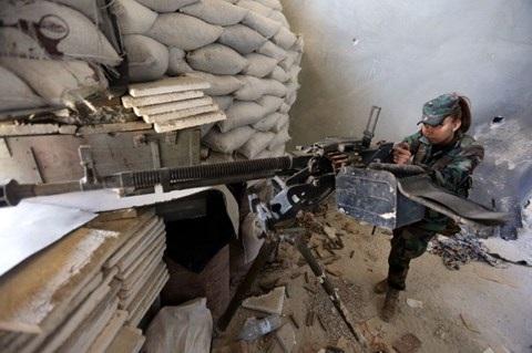 Một lính Syria trên chiến trường Damascus